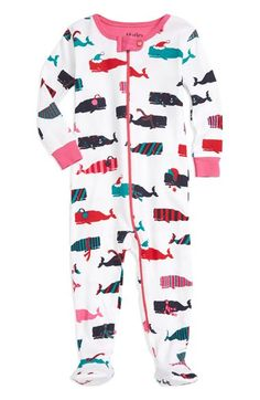 Hatley 'Scarf Whales' Fitted One-Piece Footie Pajamas (Baby Girls) available at #Nordstrom