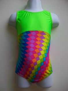 gymnastics leotard  girls sizes 513 neon green top by karinasworld, $20.00 addy