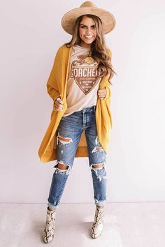 """New Love Waffle Knit Cardigan in Golden Honey This adorable golden honey colored cardigan is sure to be your """"new love"""" with its soft lightweight material featuring w. Cute Teen Outfits, Boho Outfits, Fashion Outfits, Outfits For Teens, Boho Work Outfit, Girl Outfits, Teenage Outfits, Fashion Men, Fall Winter Outfits"""