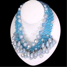 Extremely Rare 1940's BIJOUX SANDER Gripoix Art Glass & Crystal Aqua Silver Festoon Necklace