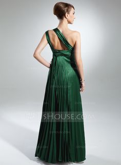 A-Line/Princess One-Shoulder Floor-Length Charmeuse Mother of the Bride Dress With Pleated (008015379) - JJsHouse