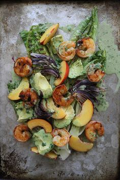 CLEAN EATING Grilled Romaine, Prawn, Avocado and Nectarine Salad with Jalapeno Vinaigrette. Make a bright and creamy vinaigrette by whisking in some #JustMayo!