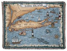Long Island New York Tapestry Throw Blanket - With Love Home Decor