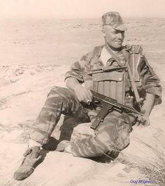 "French Navy commando from ""Trepel"" Commando in Algeria. Pin by Paolo Marzioli Military Photos, Military History, French Armed Forces, First Indochina War, French Foreign Legion, French Colonial, French History, War Photography, French Army"