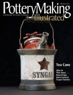 Pottery Making Illustrated's May/June 2011 issue, showing Frank James Fisher's SYNGAS Tea Can, porcelain, raku fired. Photo: Frank Kidd.