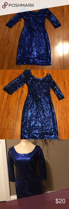 My Michelle size 1 small blue sequin dress See pics My Michelle Dresses Midi