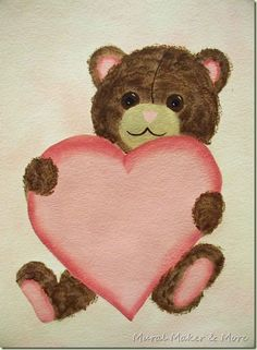 how to paint a sweet teddy bear holding a heart. Perfect project for Valentine's Day and it's super easy!