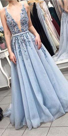 On Sale Absorbing V Neck Prom Dresses Blue V-Neck Beaded Prom Dress,Gorgeous Blue Tulle Evening Dress With Sash V Neck Prom Dresses, Beaded Prom Dress, Tulle Dress, Light Blue Prom Dresses, Dress Prom, Light Blue Wedding Dress, Blue Formal Dresses, Lace Dress, Blue Grad Dresses