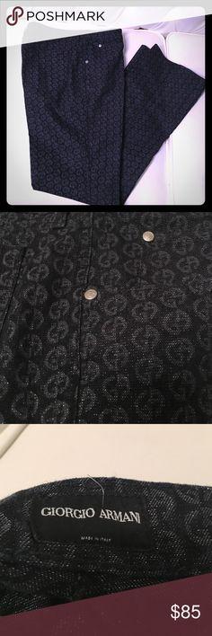 NWOT Giorgio Armani monogram pants Very stylish and chic. Giorgio Armani designer denim with monograms. From Giorgio Armani, not Armani Jeans. Never worn. Giorgio Armani Jeans