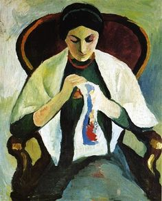 Woman Embroidering in an Armchair: Portrait of the Artist's Wife, 1909, by August Macke