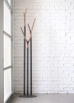"""A modern floor standing coat stand with either mirror chrome or copper """"wishbone"""" feature designed by award-winning duo Busk + Hertzog. Large Office Furniture, Spanish Revival Home, Apartment Complexes, Office Accessories, Storage Organization, Inspiration, Design, Thesis, Heavy Metal"""