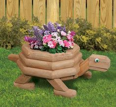 Rattle snake planter made from landscape timbers | Planter Woodworking Plans - Medium Landscape Timber Turtle Planter ...