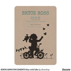 BIRTH ANNOUNCEMENTS Boy with bike