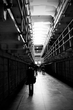 Cell Block Alcatraz in Black and White by missnbiss, via Flickr