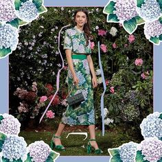 Strolling through English gardens in sophisticated style. Loving the hydrangea prints in the #DGOrtensia collection.  via DOLCE & GABBANA OFFICIAL INSTAGRAM - Celebrity  Fashion  Haute Couture  Advertising  Culture  Beauty  Editorial Photography  Magazine Covers  Supermodels  Runway Models
