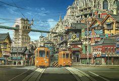 "By KIMURA Shinji. 木村真二 Background art from 青の祓魔師 ""Blue Exorcist"" (Ao No Exorcist, 2012 Japanese anime film) #tram #animation #comics #manga #BD"