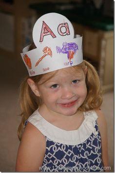 letter of the week alphabet crowns for toddler preschool and kindergarten