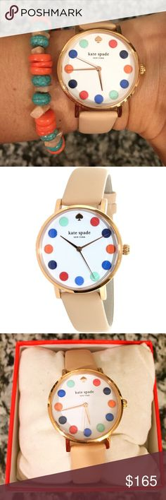 """Kate Spade Metro Dot Beige Leather Strap Watch NWT and comes with original box, just missing manual. In great condition, never been worn still has tags. Only wear is on bottom of strap as seen in pictures there are very faint creases from trying on and a small nick. Rose gold tone stainless steel face side, quartz movement. 34mm face, 30mm water resistant. 8"""" strap length. No trades, offers welcome. kate spade Accessories Watches"""