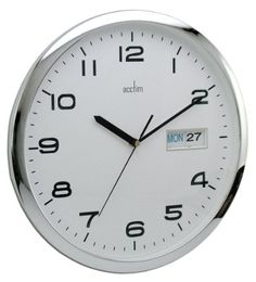 Acctim Supervisor Wall Clock Chrome/white 21027 for sale online Wall Clock With Date, Cheap Office Supplies, Chrome, Dating, Day, Airmail, Current Events, United Kingdom, Ships