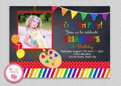 Art Painting Birthday Party Invitation by TheTrendyButterfly, $15.00