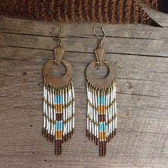 Nikkal... Brass and seed bead earrings, handmade, tribal, gypsy, boho, bohemian jewelry