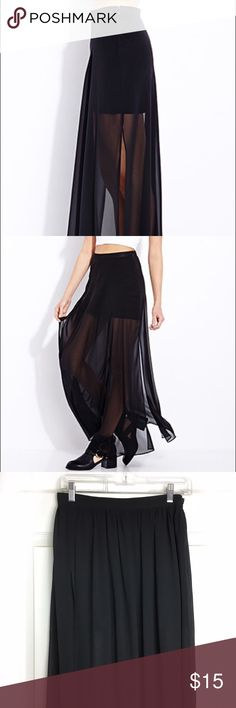 NWOT FOREVER 21 maxi sheer skirt A perfect condition maxi skirt! It has a mini skirt underneath with a sheer maxi dress! It also has a sexy slit Forever 21 Skirts Maxi