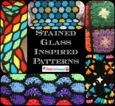 Stained Glass Inspired Patterns for crocheting and knitting! Got to love the bold and beautiful patterns!