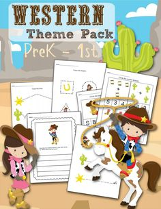 Western Themed Printable Preschool & Kindergarten Worksheet set - FREE! Includes shapes, tracing, simple math and writing prompt. Cut cowboy & cowgirl design - print for homeschool or teachers in the classroom!