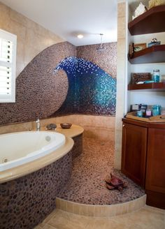 White Wave Tile Beach House Bathroom Design Ideas, Pictures, Remodel and Decor Design Remodel, Dream Bathrooms, Beach Theme Bathroom Decor, Amazing Bathrooms, Bathrooms Remodel, House, Eclectic Bathroom Design, Home Decor, Eclectic Bathroom