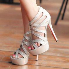 Sexy Silver Cross Strap High Heel Sandals