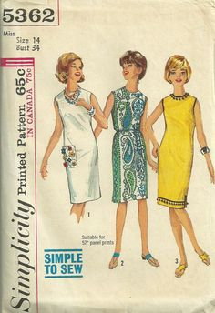 Simplicity 5362 1960s Simple to Sew Shift Dress by mbchills