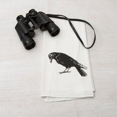 Crow Hand Printed Flour Sack Tea Towel - Counter Couture Design