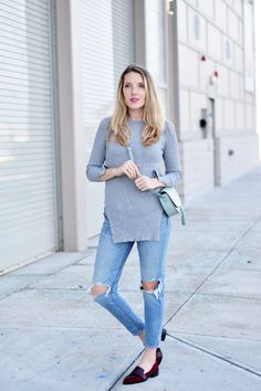 side split tunic with busted knee jeans and oxblood loafers - one brass fox
