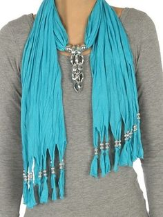 Jewelry Scarf and Beaded Fringe - Turquoise  $19.95