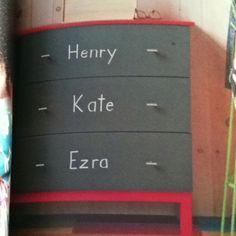 Chalkboard paint on dresser. Great idea for kids school stuff or daycare