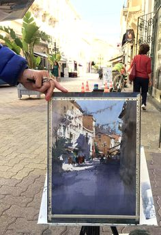 Jasmine Huang, plein air in Hyeres, France Watercolor Artists, Watercolor Portraits, Watercolor Techniques, Watercolor Paintings, Watercolours, Watercolor Architecture, Watercolor Landscape, Artist Art, Artist At Work