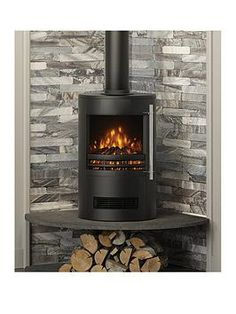 Be Modern Tunstall Cylinder Stove - Black - Wood Stove Hearth, Wood Burner Fireplace, Modern Fireplace, Fireplace Design, Wood Stove Surround, Wood Stove Wall, Corner Log Burner, Wood Burning Stove Corner, Corner Stove