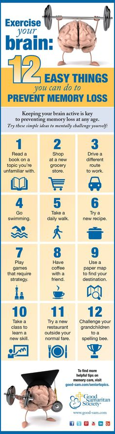 12 easy things you can do to prevent memory loss | Good Samaritan Society. Research suggests that keeping your brain stimulated, socializing, proper nutrition and physical exercise are some of the best ways to promote cognitive health. Try these simple ways to prevent memory loss.