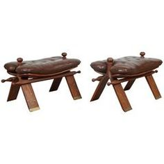 Pair of Vintage Moroccan Brown Camel Saddle Stools