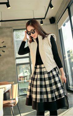 mayblue - Set: Turtle-Neck Pullover + Gingham A-Line Skirt #alineskirt #skirt #set #turtleneckpullover #pullover #ginghamskirt