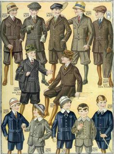 Here's a full scan of a page from an antique clothes catalog published in 1917 showing children's antique fashion.