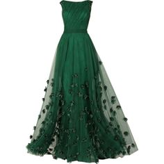 edited by Satinee - Tony Ward Couture 2013 ❤ liked on Polyvore featuring dresses, gowns, long dresses, vestidos, green ball gown, couture evening gowns, long green dress and green dress
