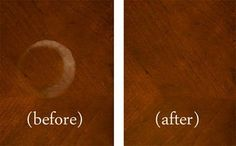 I was able to remove a big white heat patch from my cherry dining room table by using ashes!    1. Just get ashes (cigarette or fireplace)  2. using a damp cloth put ashes on the white spot  3. rub the ashes into the spot on the table (doesn't matter on what kind of wood)  4. repeat steps until done!
