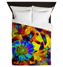 Abstract Colorful Floral Rainbow Queen Duvet for