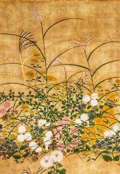 Detail. Flowering Plants in Autumn.  Ogata Kōrin. Edo period (18th century) Japanese folding screen. Important Art Object of Japan.  Suntory Museum of Art