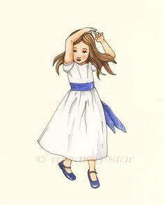 Girls in White Dresses with Blue Satin Sashes - 8x10. $18.00, via Etsy.