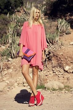 pink and purple. Salmon Dress, Neon Light, Beauty Is Fleeting, Pink Suit, She Is Clothed, Flowing Dresses, Weekend Wear, Primark, Cropped Pants