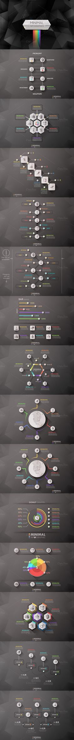 Collection Of Minimal Dark Infograph. Business Infographic. $18.00