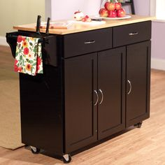 Black Two Cabinet Kitchen Island Cart Furniture Decor Home Living Dining Storage #TMS
