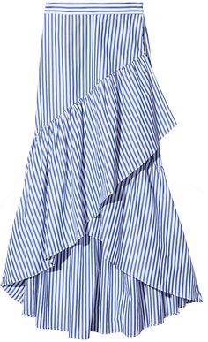 MDS Stripes Pencil Skirt with Ruffle